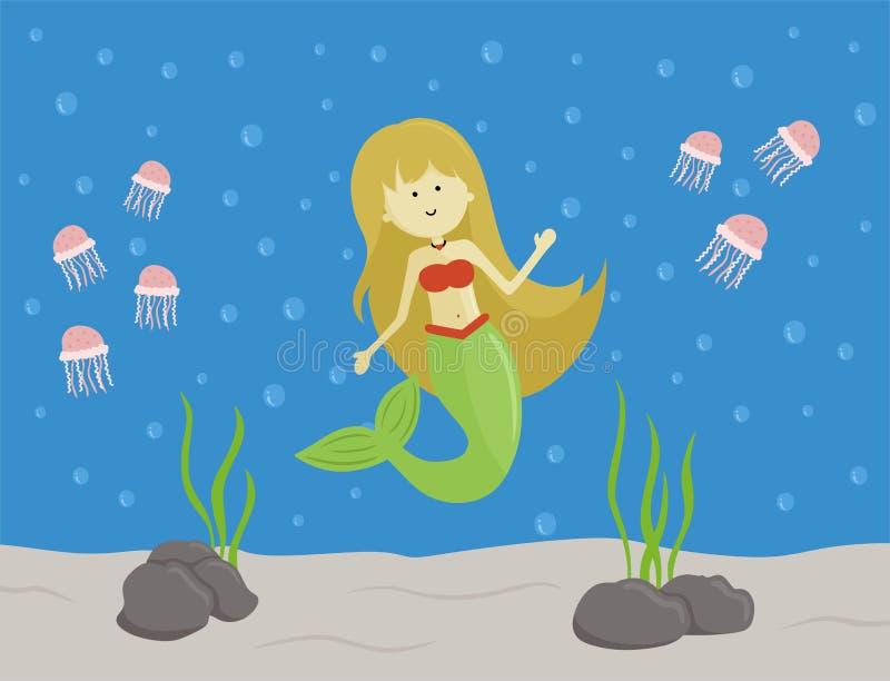 Sirène mignonne en mer illustration stock
