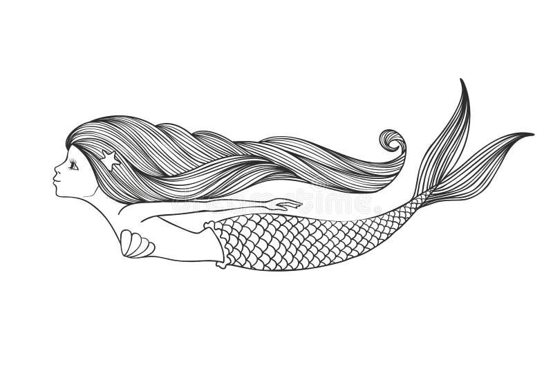 Sirène mignonne linéaire tirée par la main de fille pour livre de coloriage illustration libre de droits