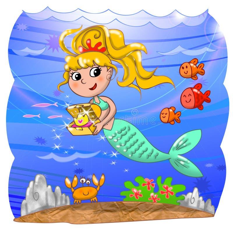 Sirène mignonne sous l'eau illustration libre de droits