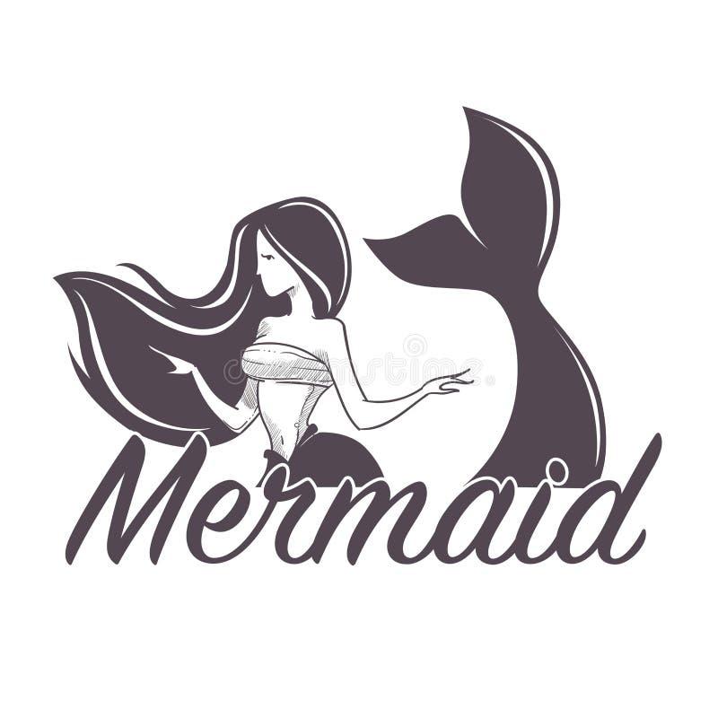 Sirène nageant l'icône d'isolement par sirène de société marine illustration stock