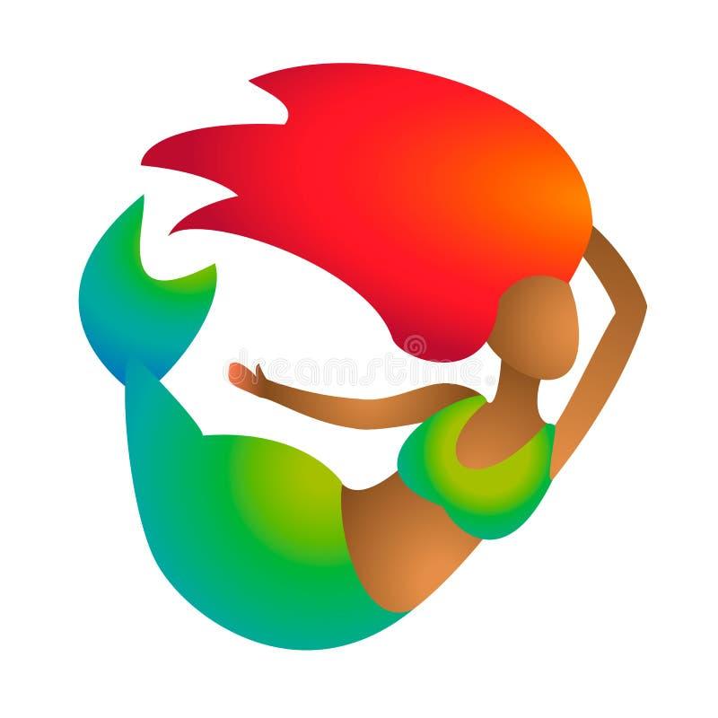 Sirène ou sirène noire africaine avec les cheveux rouges et la peau de queue de gradient et brune verte Jeunes poissons marins ro illustration libre de droits