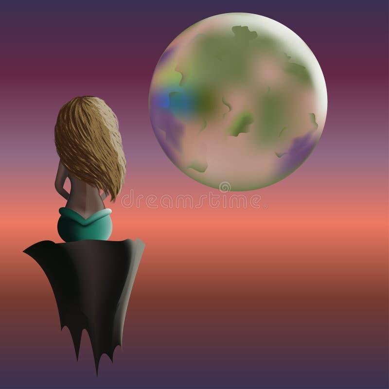 Sirène se reposant sur la roche en air et regardant multicolore images libres de droits