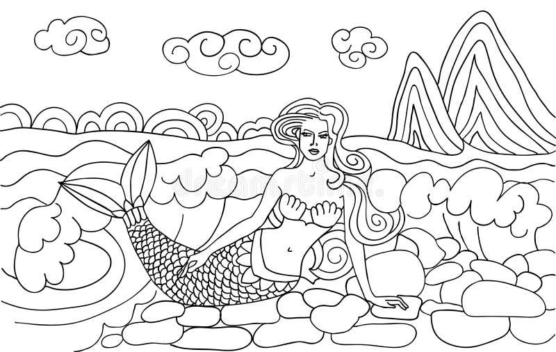 Sirène sur la plage illustration libre de droits