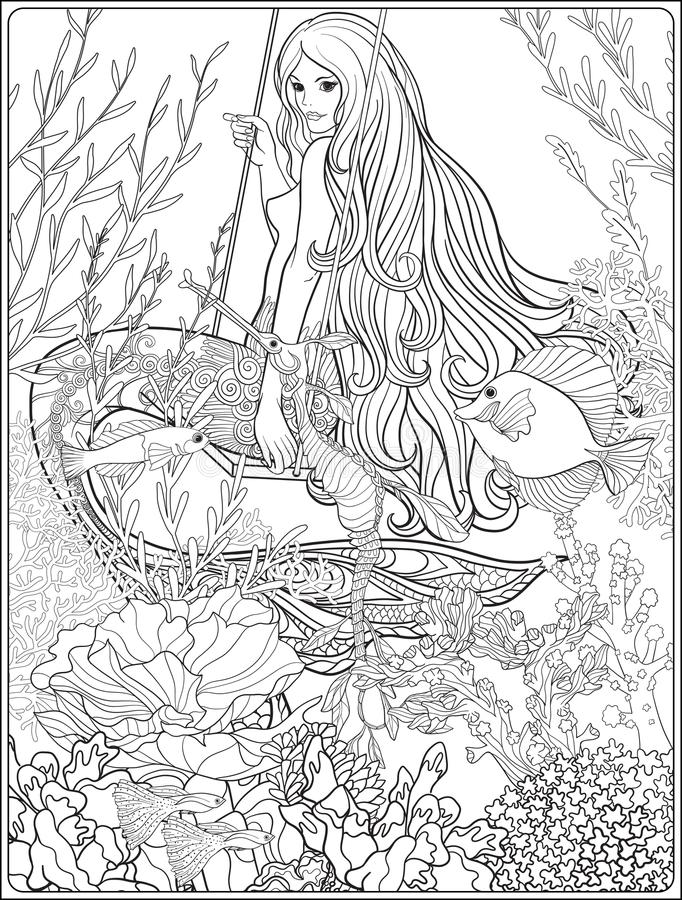 Sirène tirée par la main avec de longs cheveux en monde sous-marin illustration libre de droits