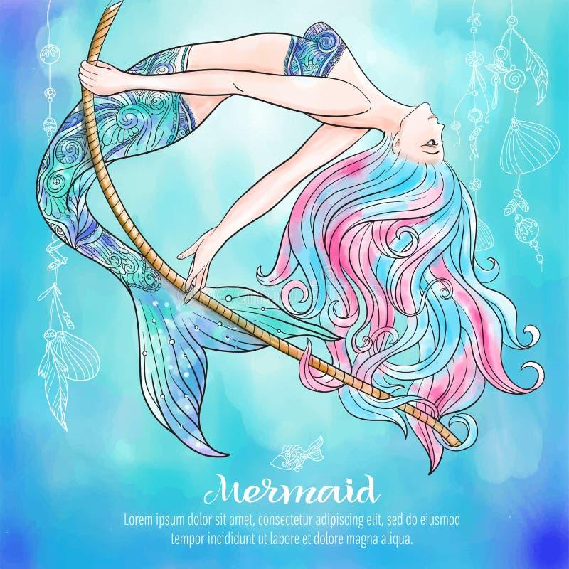 Sirène tirée par la main balançant sur une corde, sur le fond d'aquarelle, illustration libre de droits
