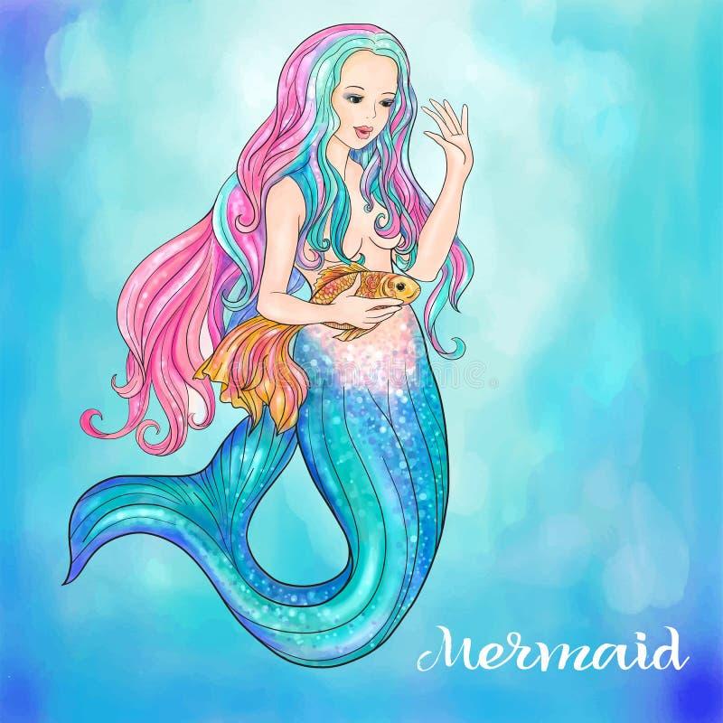 Sirène tirée par la main tenant un poisson d'or, sur le fond d'aquarelle illustration stock