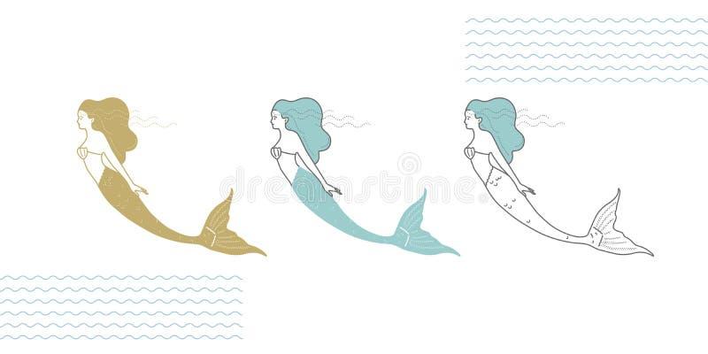 Sirènes dans un style moderne illustration de vecteur