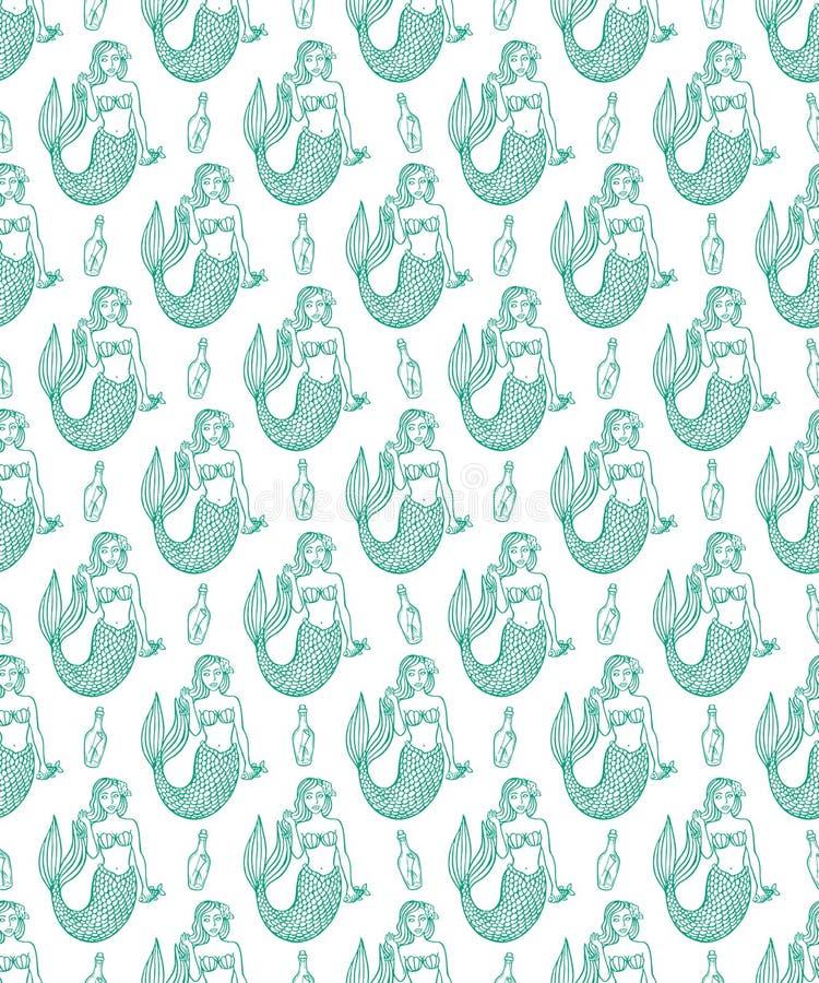 Sirènes et bouteilles mignonnes de croquis illustration stock
