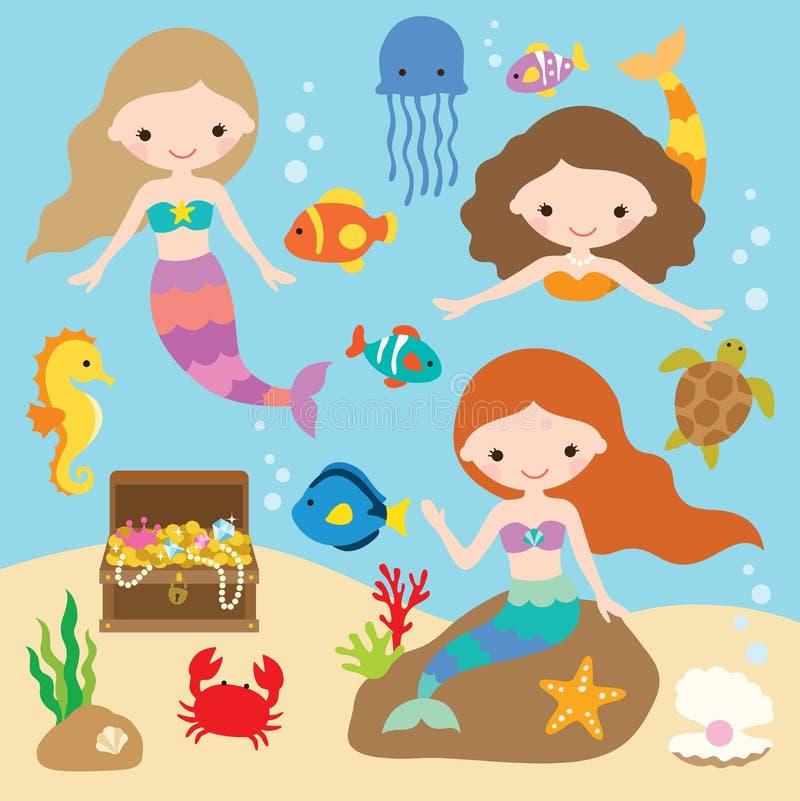 Sirènes sous la mer avec des poissons, méduses, hippocampe, crabe, étoile de mer, coffre au trésor illustration stock