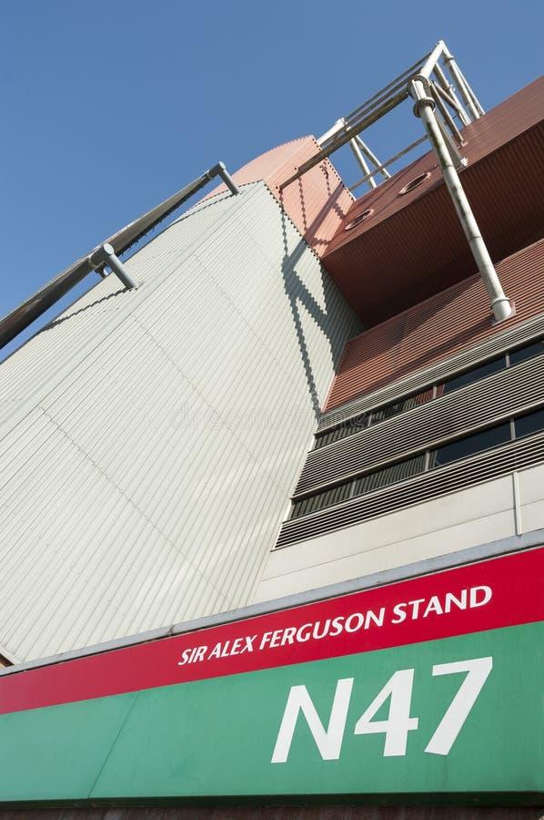 Sir Alex Ferguson Stand, de Grond van de Manchester Unitedvoetbal, het UK stock afbeelding