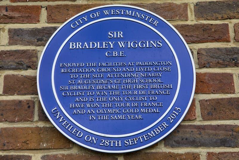 Sir Bradley Wiggins plakieta w Londyn obraz royalty free
