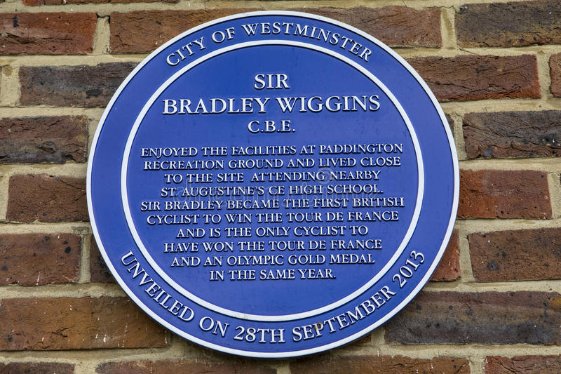 Sir Bradley Wiggins Plaque in Londen royalty-vrije stock afbeelding