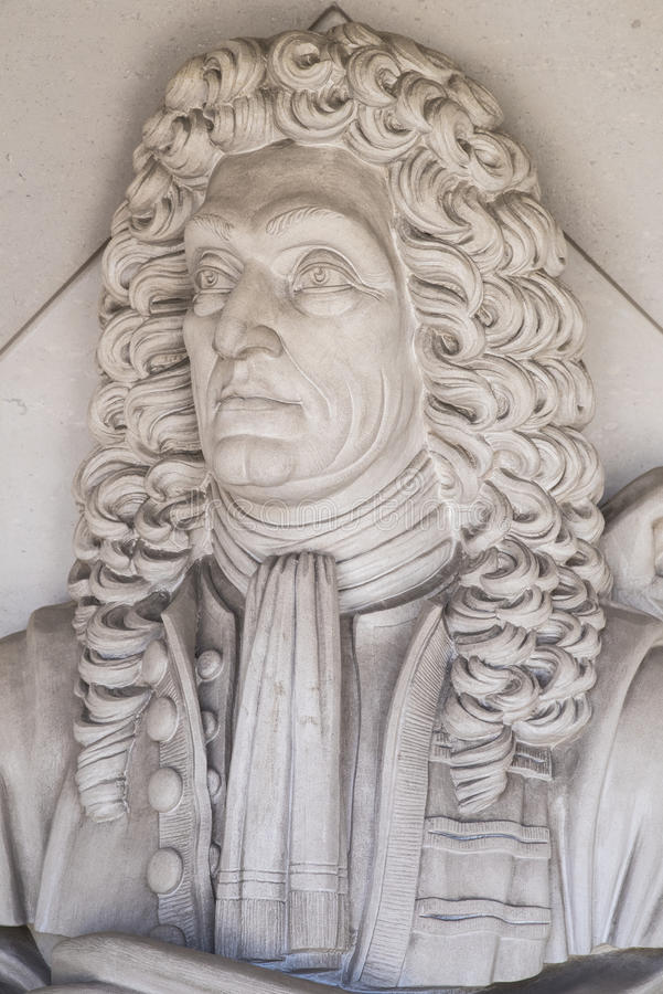 Sir Christopher Wren rzeźba w Londyn fotografia royalty free