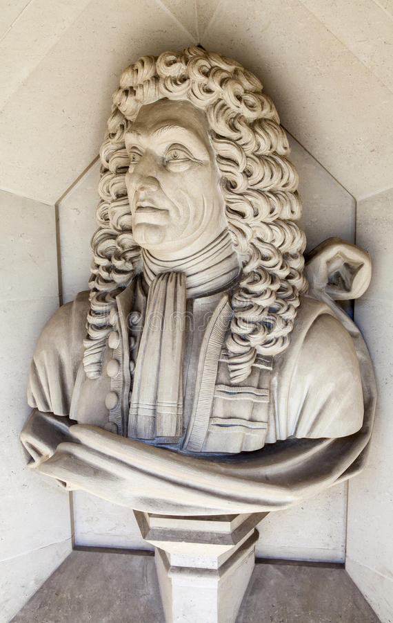 Sir Christopher Wren Sculpture in Londen royalty-vrije stock afbeelding