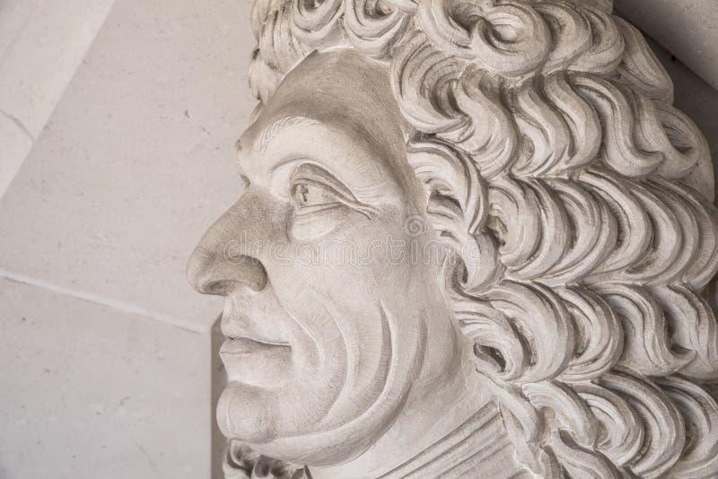 Sir Christopher Wren Sculpture in Londen royalty-vrije stock foto's