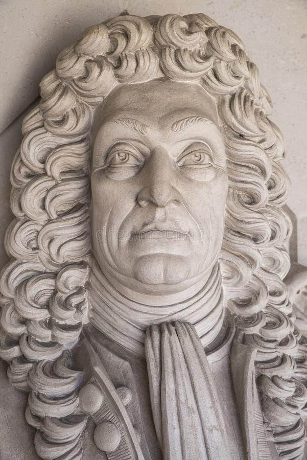 Sir Christopher Wren Sculpture in Londen royalty-vrije stock afbeeldingen