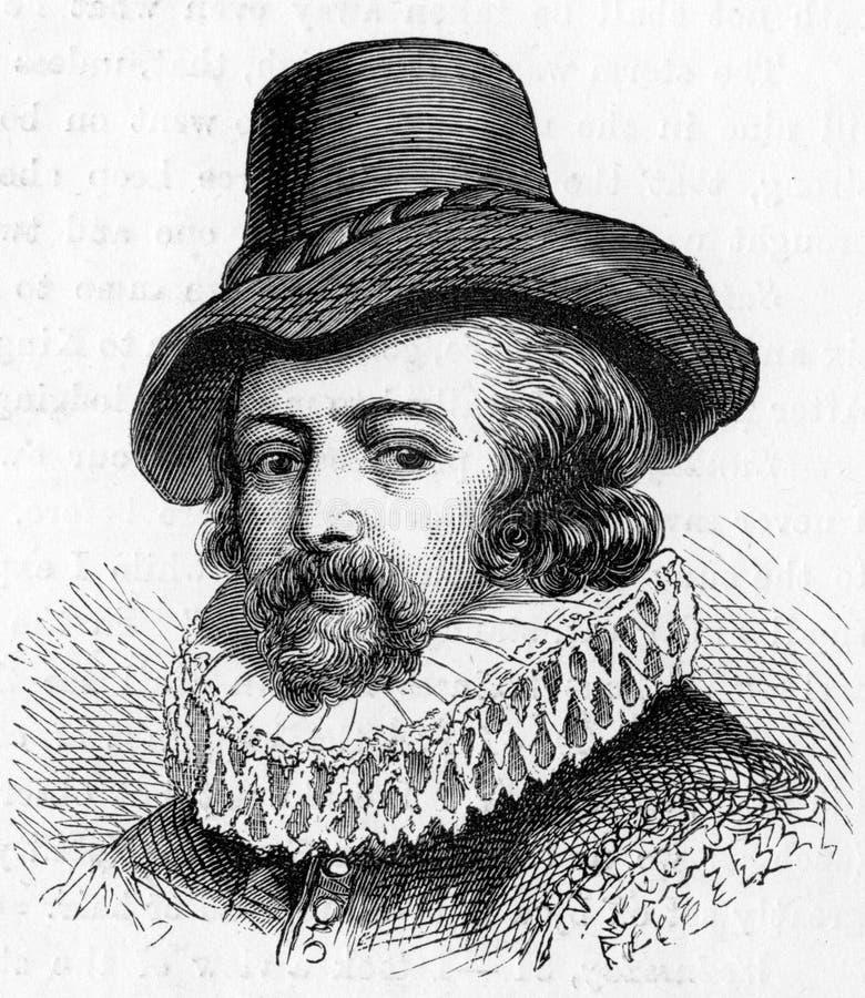 Sir Francis Bacon, Angielski filozof i mąż stanu, ilustracja wektor