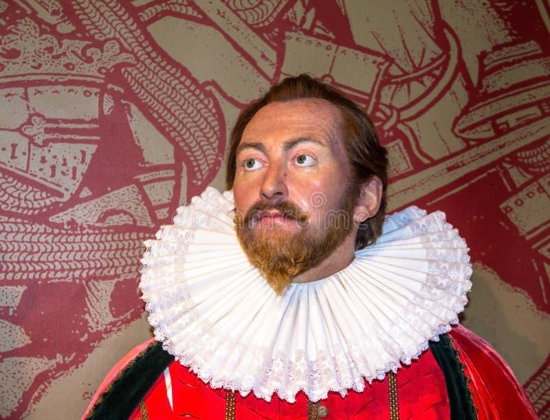 Sir Francis Drake wosku postać przy Madame Tussauds Nawoskujący Muzeum Londyn obraz royalty free