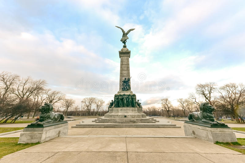 Sir George Etienne Cartier Monument. In Mount Royal Park, Montreal, Canada to George-Etienne Cartier by sculptor George William Hill stock photography