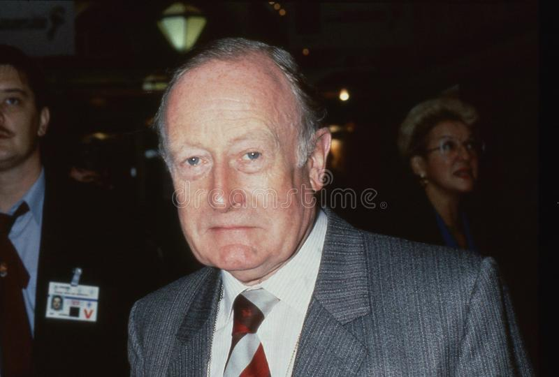 Sir Giles Shaw. Conservative party Member of Parliament for Pudsey, attends the party conference in Blackpool, England on October 10, 1989. He died in April royalty free stock photo