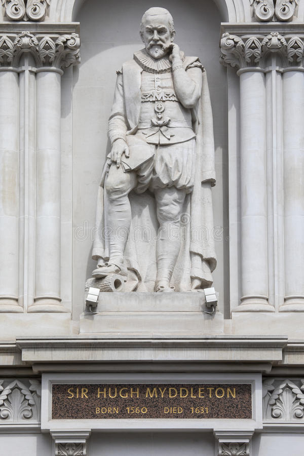 Sir Hugh Myddleton Statue in Londen royalty-vrije stock foto