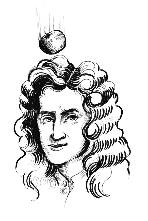 Sir Isaac Newton ilustração royalty free