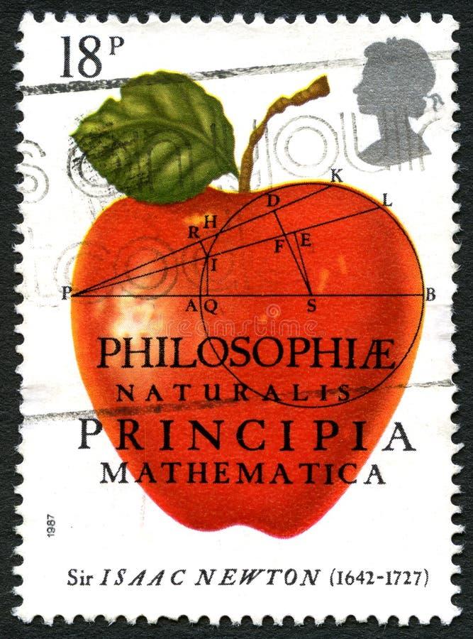 Sir Isaac newtonu UK znaczek pocztowy obraz stock