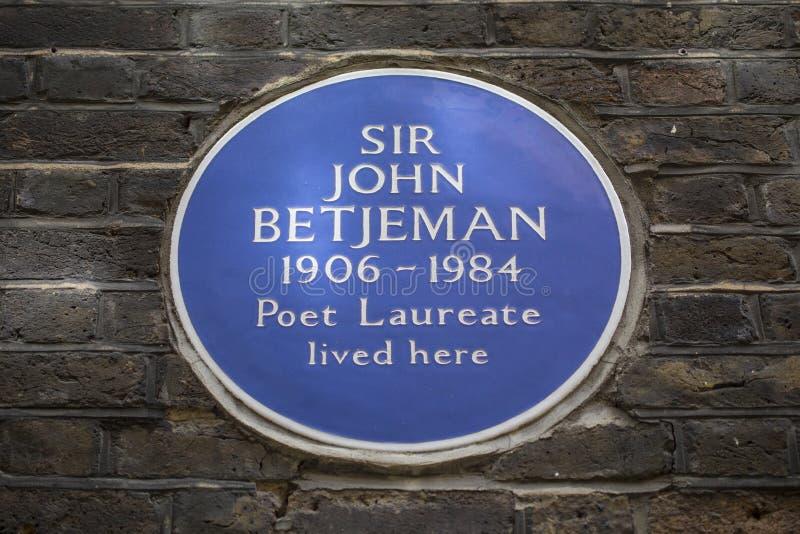 Sir John Betjeman Plaque in Londen stock fotografie