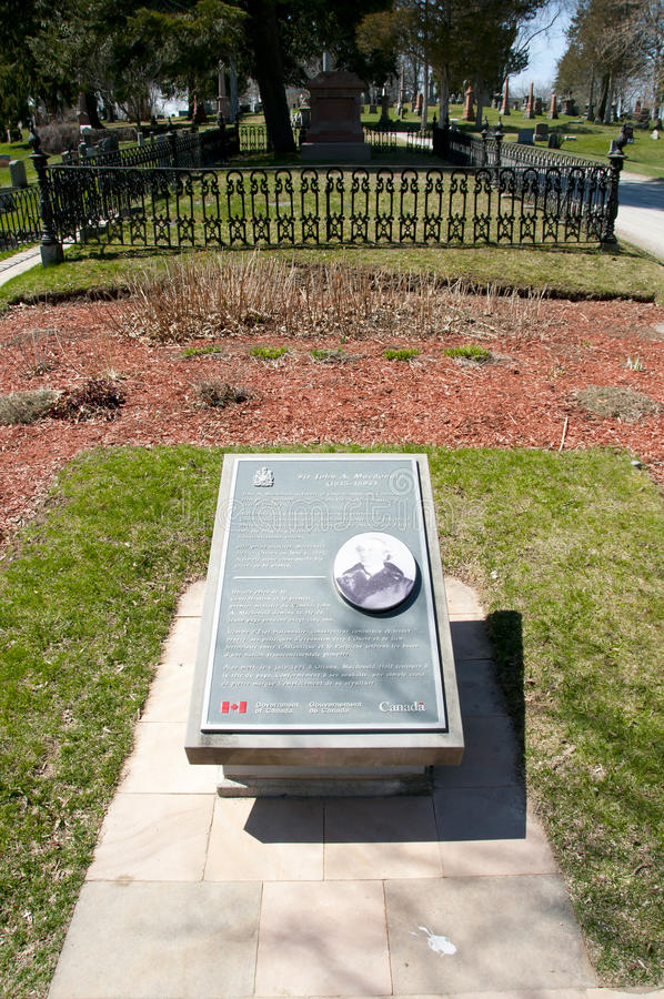 Sir John A Macdonald Grave in Cataraqui-Begraafplaats - Kingston - Canada stock foto