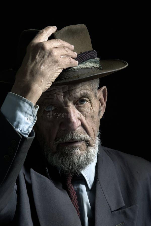 Download Sir mit Hut stockbild. Bild von schwarzes, nachdenklich - 829817