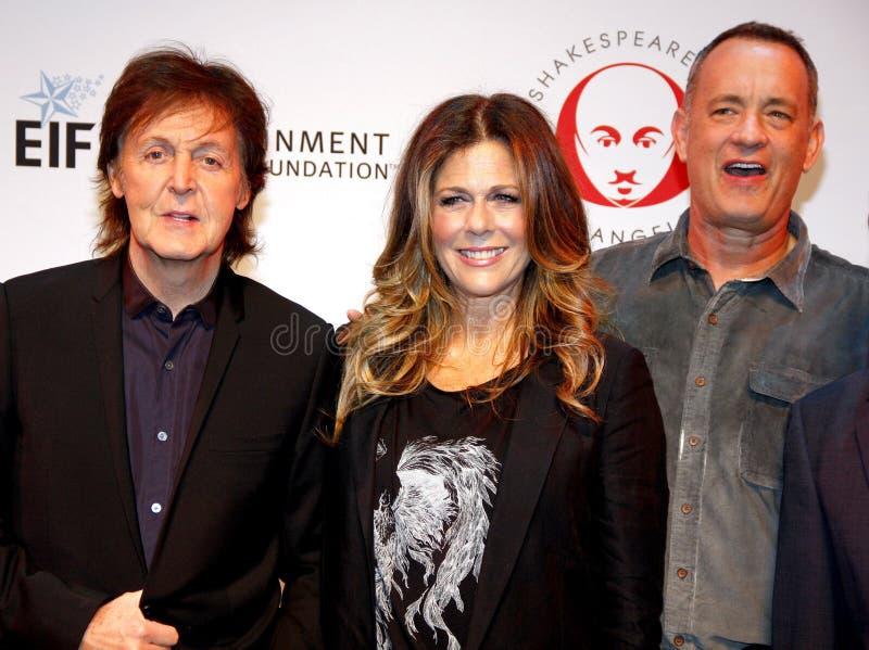 Sir Paul McCartney, Rita Wilson e Tom Hanks immagini stock