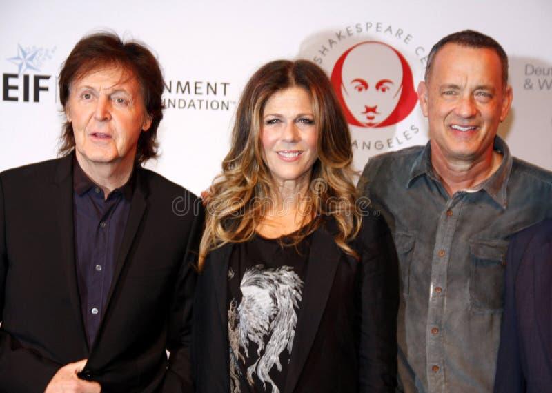 Sir Paul McCartney, Rita Wilson e Tom Hanks fotografia stock