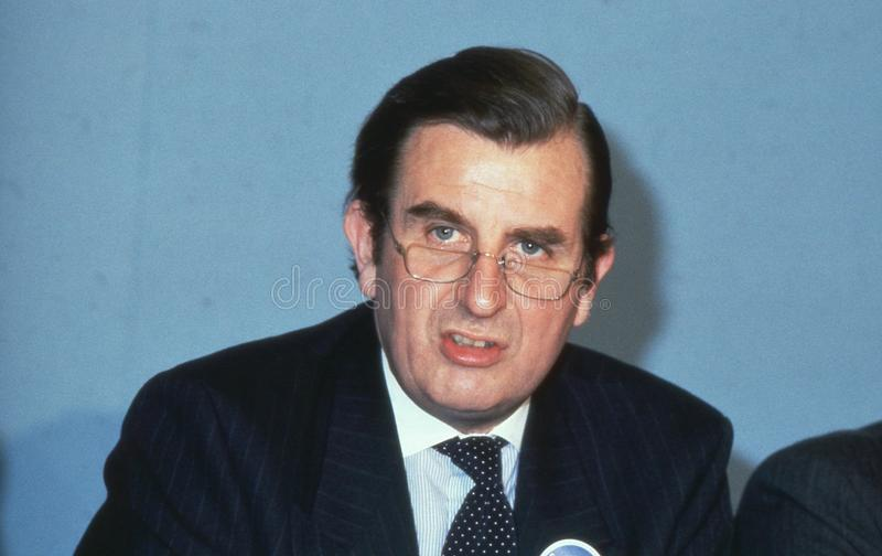 Sir Peter Bowness. Conservative party Leader of Croydon Council, speaks at a press conference in London, England on April 4, 1990. He was made Lord Bowness of stock photography