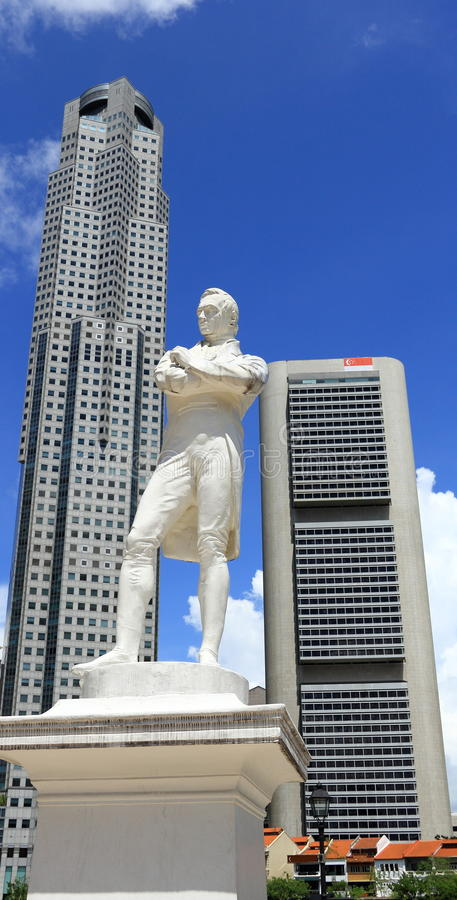 Sir raffles statuę Singapore obraz royalty free
