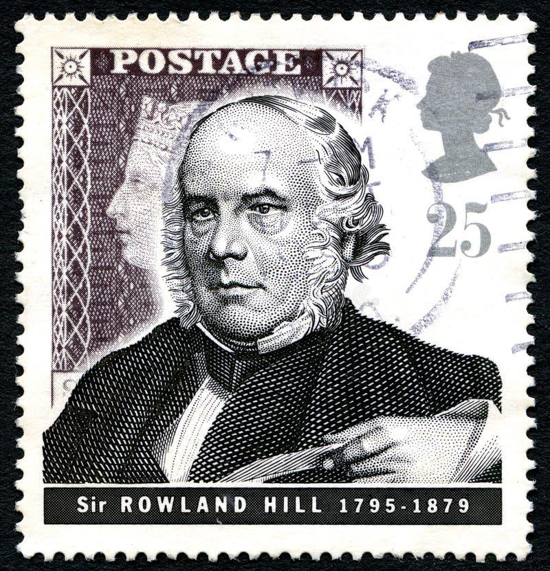 Sir Rowland wzgórza UK znaczek pocztowy zdjęcia stock