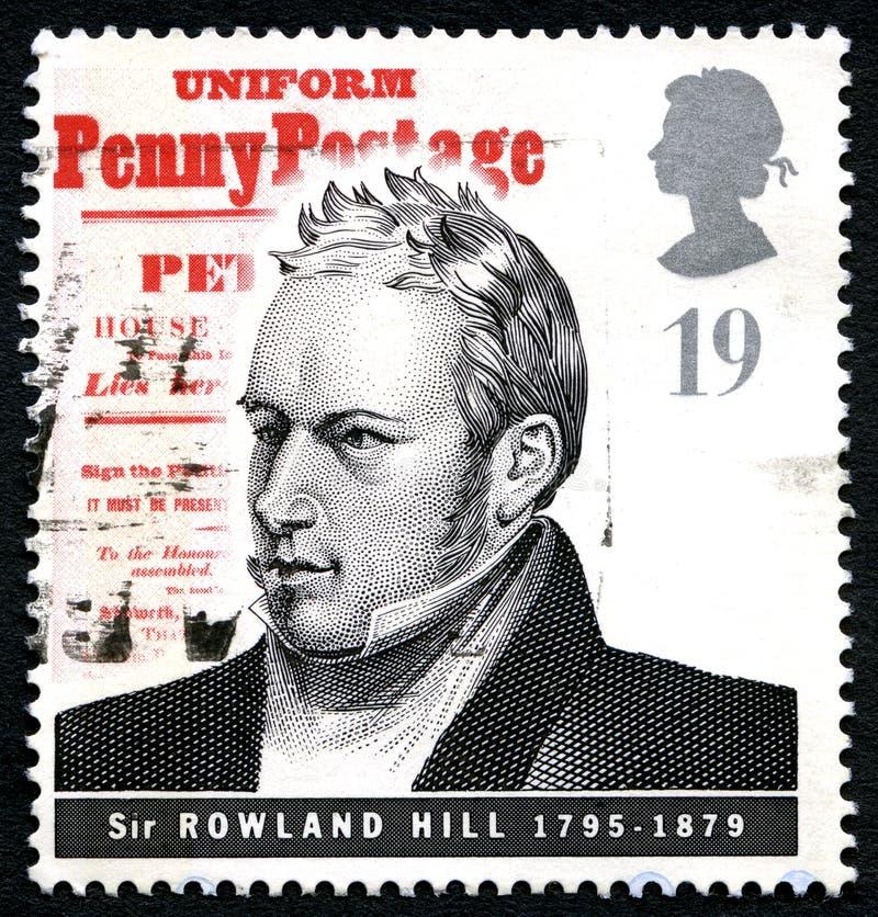 Sir Rowland wzgórza UK znaczek pocztowy obraz stock