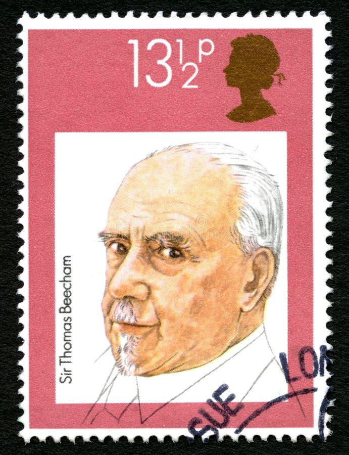 Sir Thomas Beecham UK znaczek pocztowy zdjęcia stock