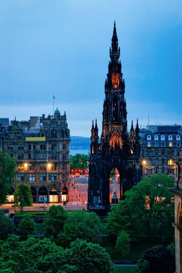 Sir Walter Scott Monument at Edinburgh in Scotland night. Sir Walter Scott Monument at Edinburgh in Scotland in the UK at night stock image