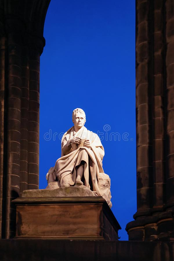 Sir Walter Scott Monument in Edinburgh of Scotland. In the UK at night royalty free stock images