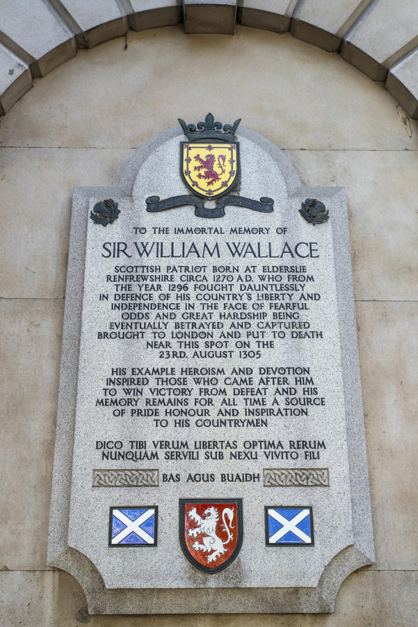 Sir William Wallace Plaque i London arkivbilder