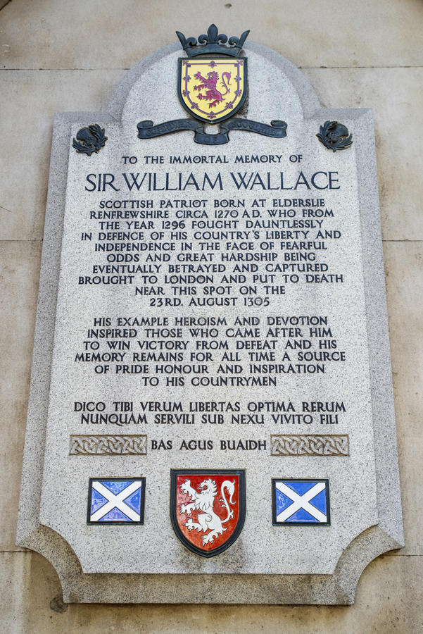 Sir William Wallace Plaque in Londen royalty-vrije stock foto