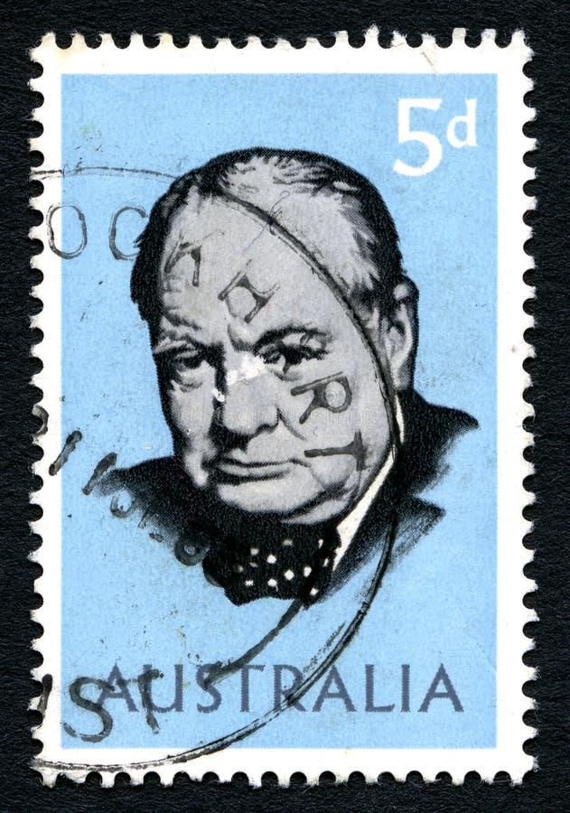 Sir Winston Churchill australijczyka znaczek pocztowy fotografia stock