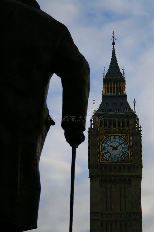 Sir Winston Churchill Big Ben & statua obraz stock