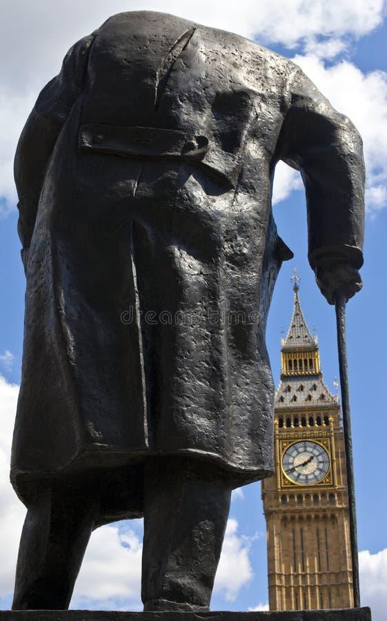Sir Winston Churchill Big Ben w Londyn i statua fotografia stock