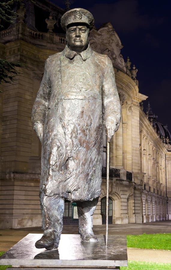 Sir Winston Churchill statua w Paryż zdjęcia stock