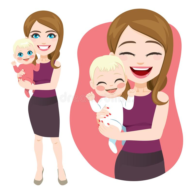 Sira de mãe ao bebê da terra arrendada ilustração stock