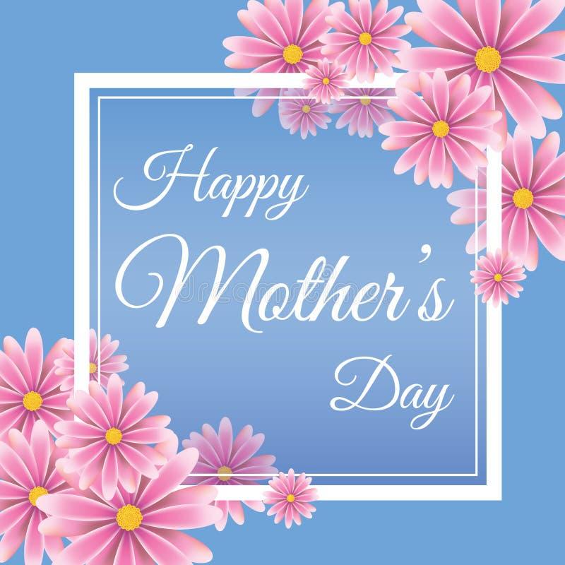 Sira de mãe ao cartão do dia do ` s no backround azul ilustração do vetor