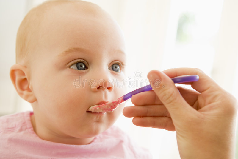 Sira de mãe ao comida para bebé de alimentação ao bebê fotos de stock royalty free