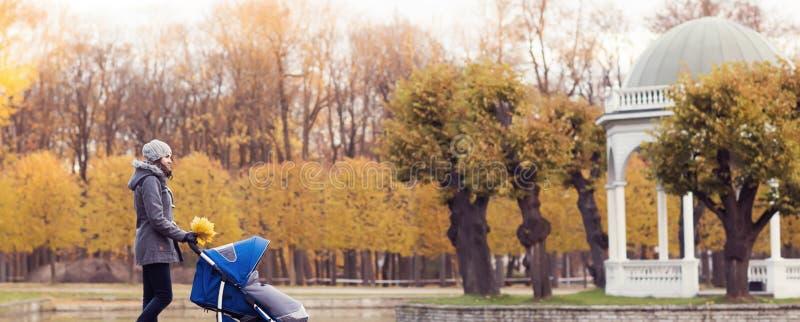 Sira de mãe ao jogo no parque com seu bebê da criança Mamã e filho sobre o fundo sazonal do outono imagem de stock