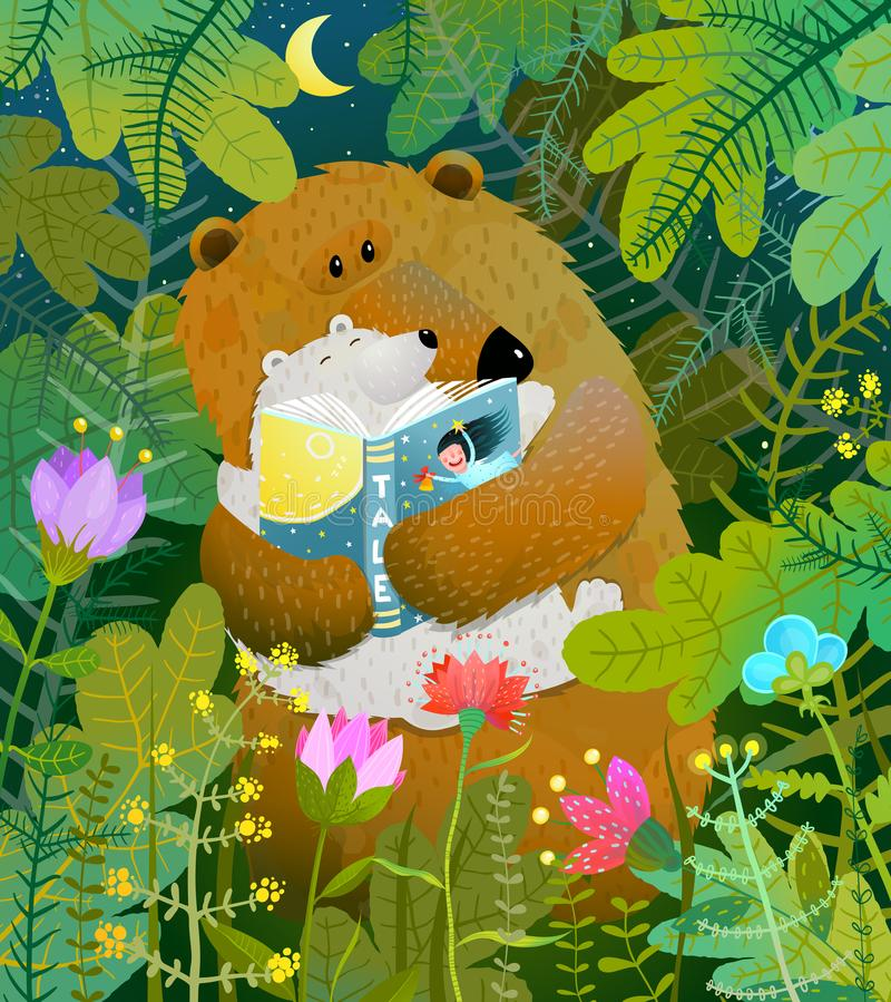 Sira de mãe ao livro de leitura do urso para cub o bebê na floresta ilustração do vetor